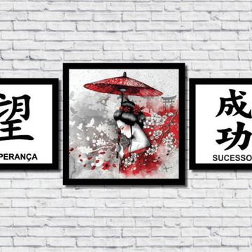 Kit 3 Quadros Decorativos Oriental Japão Sucesso Esperança