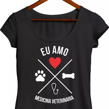 Camiseta Baby Look Canoa Eu Amo Medicina Veterinaria