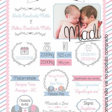 arte digital para ipressão nascimento - gemeos casal