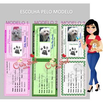 Rg Carteira De Identidade Animal:pets Caes Gatos SEM PLASTIF