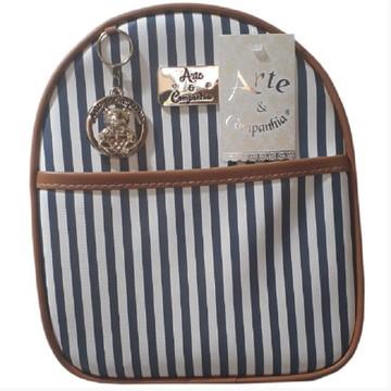 11b36cc54c Mochila bolsa Infantil Azul Marinho com caramelo listras