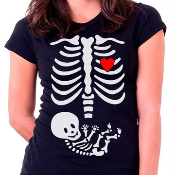 Camiseta Baby Look Gravida Gestante Raio X Esqueleto-1