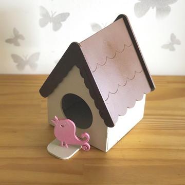 Casa de passarinho com passarinho - grande