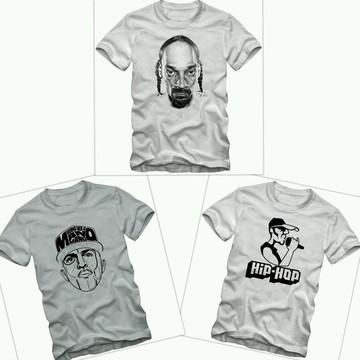 8e013e60f572f Kit 3 Camisetas Rap Hip Hop Tamanhos Especiais Plus Size