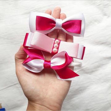Kit laços rosas na faixa