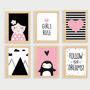Quadros decoração infantil menina e coração -A4