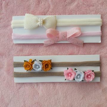 Kit de Laços Lacinhos com 4 Faixas para Bebe Recem Nascido