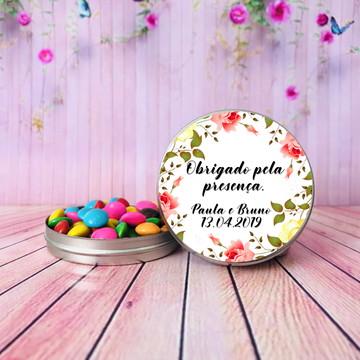 Lembrancinha de casamento latinha flores personalizado