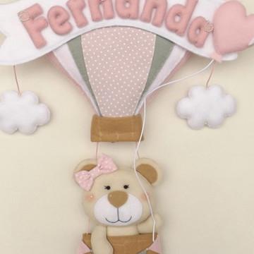 Enfeite de porta Ursinha no balão