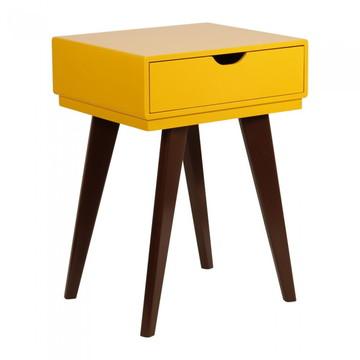 Criado mudo retro 1 gaveta Amarelo