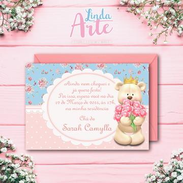 Convite Impresso Ursinha Princesa