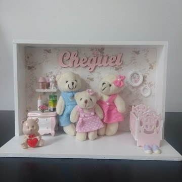 Quadro Porta Maternidade Familia Urso Menina