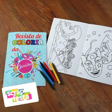 Revista Colorir + Giz de Cera Festa Carnaval