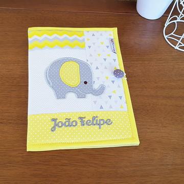 Porta Documentos Elefante Amarelo e Cinza