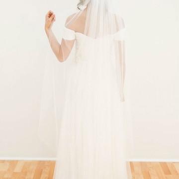 Véu Noiva Longo Mantilha Tule Francês