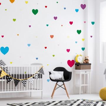 Adesivo Coração tamanhos variados colorido