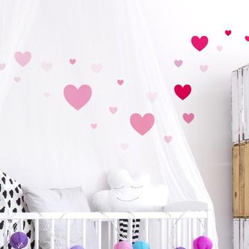 Adesivo Coração tamanhos variados rosa