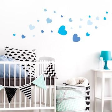 Adesivo Coração tamanhos variados azul