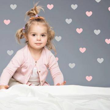 Adesivo Coração rosa e cinza