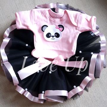 Tutu panda + body bordado Infantil