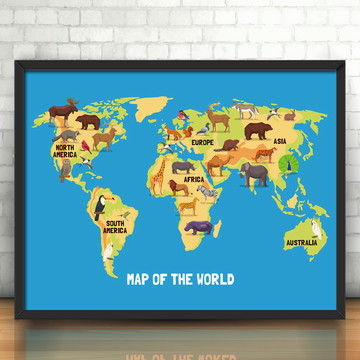 Quadro Mapa Mundi Animals