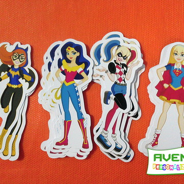 Kit c/ 20 Apliques do tema Dc Super Hero Girls
