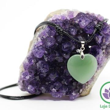 Colar Quartzo Verde Regulável - Coração