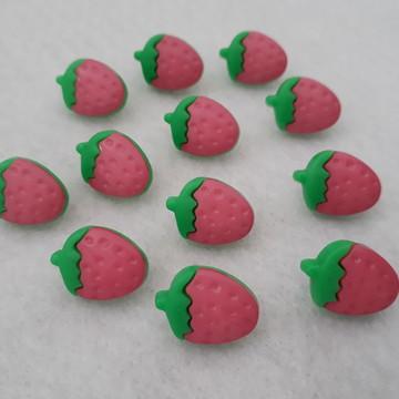 Botões Plástico - Morango - Cor-de-rosa e Verde