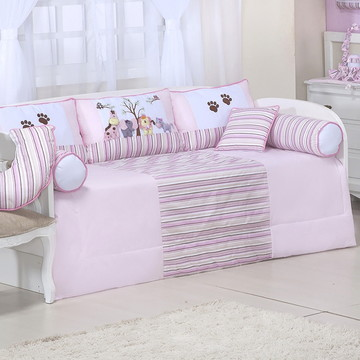 kit cama babá safari rosa 8 pcs