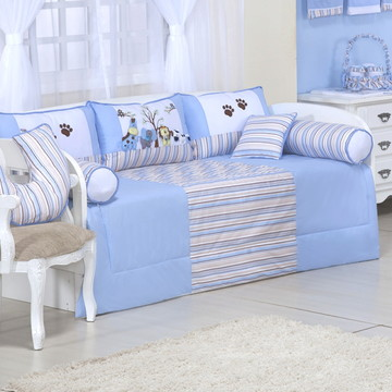 kit cama babá safari azul 8 pcs