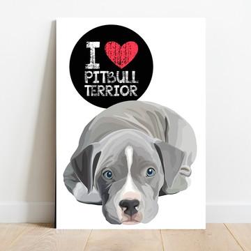 Placa Decorativa I Love Pitbull Terrior