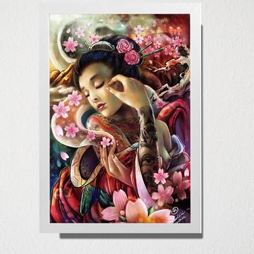 Quadro A3 Japonesa e rosas