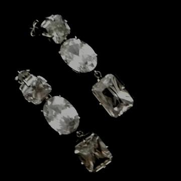 Brinco cristal incolor prateado