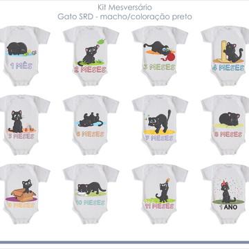 Kit Mesversário para bebê - Tema Gato Preto - Macho