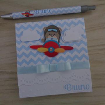 Bloco de notas personalizado com caneta