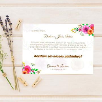 Convite para padrinhos de casamento Rosa e Laranja