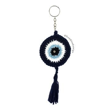 Chaveiro Olho Grego Azul Marinho (Crochê)