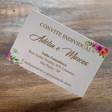 Convite individual para casamento rosa laranja