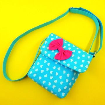 Bolsa Infantil Azul Corações