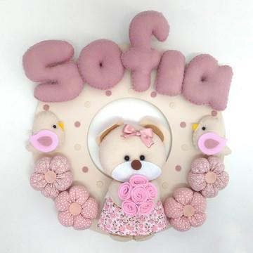 Enfeite porta maternidade Ursa Rosa