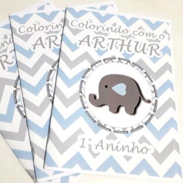 Livro colorir lembrancinha personalizado Elefantinho