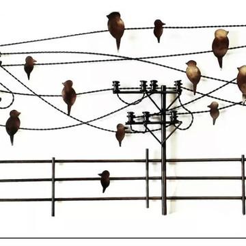 Escultura de Parede de Ferro Rustico Decorativo de Paisagem