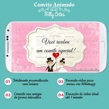 Convite Animado casamento rosa