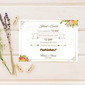 Convite para padrinhos de casamento Laranja