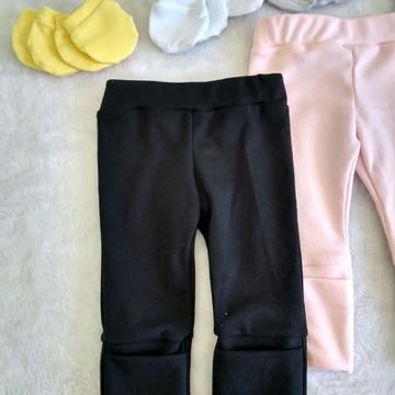 CALÇA preta para bebes com cós de ajuste e pé reversível
