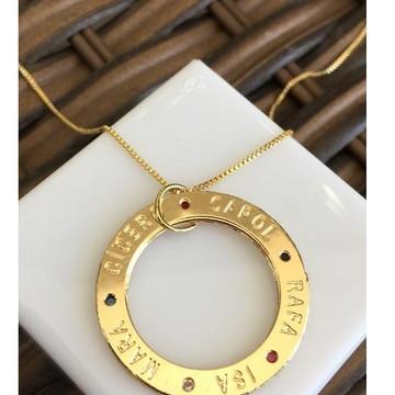 colar mandala nomes e cravejados coloridos folheado ouro