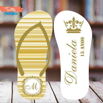 Chinelo 15 anos Dourado Coroa