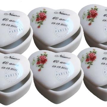 Porta joia de coração médio porcelana personalizado