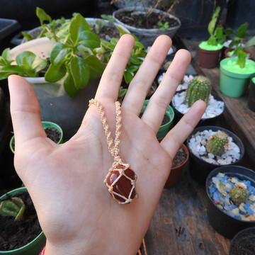Cordão com Pedra Jaspe Vermelho