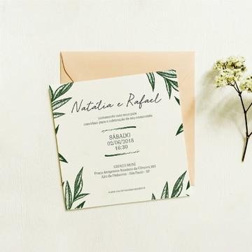 Convite Digital Casamento Folhas